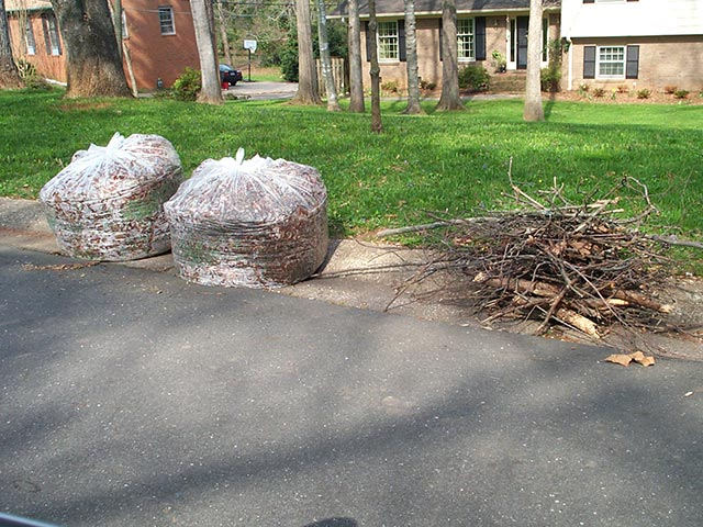 Place yard waste for curbside pickup